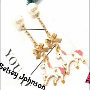 Betsey Johnson Fabulous Unicorn Bow Earrings